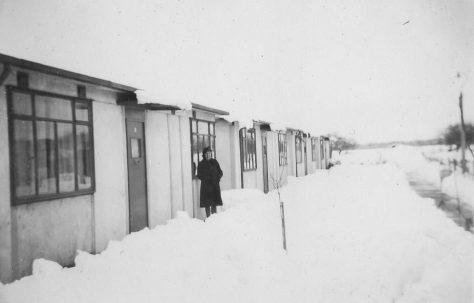 Prefabs in the snow. Gilbert Close, Cambridge
