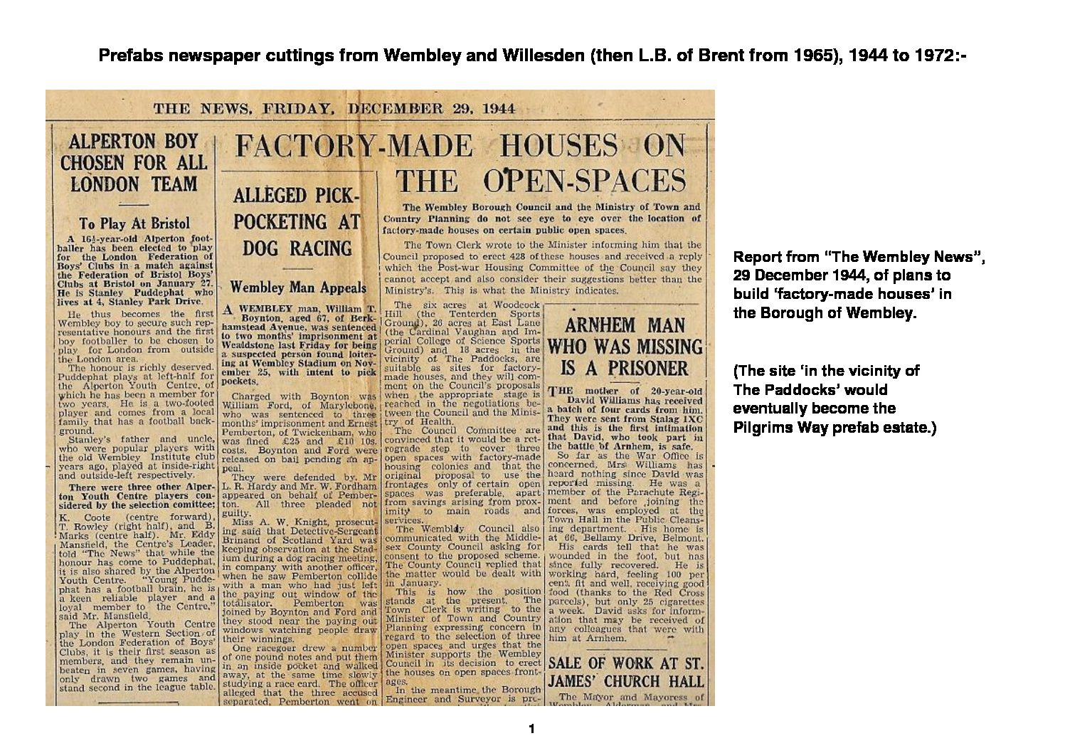 Prefab newspaper cuttings from Wembley and Willesden, 1944 - 1972