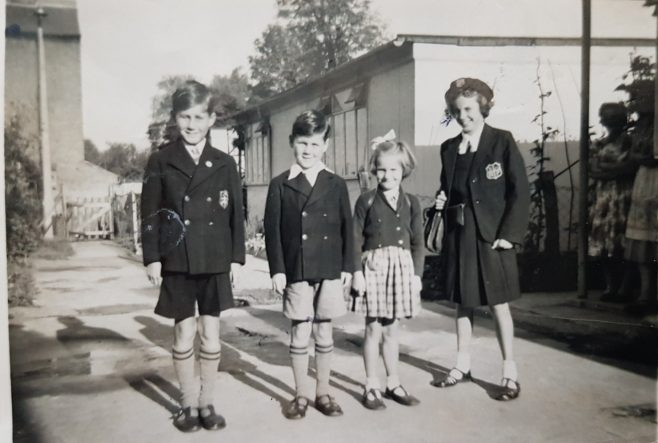 Allen, Brian and Sylvia and Christine Pearce, off to school circa 1955. Chelverton Road, Putney