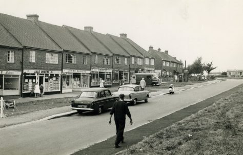 Dynes Road shops looking west, Kemsing, Kent