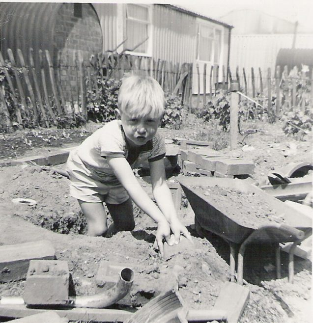 Graham digging in the garden, 849 Ripple Road