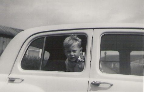 Graham in Pat Maloney's car, 849 Ripple Road