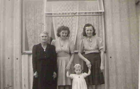 Graham's grandmother Amy Pope, Maddi Nieuwdorp, Graham's mother Ivy Pope and his sister Roberta. 849 Ripple Road