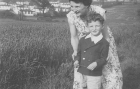 John with his mother Phyllis crossing the wheat field. Dark Lane Estate, 4 Holbrook Avenue, North Wingfield