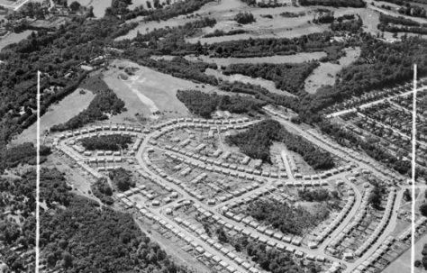 Aerial map of post war prefabs where I was born. Shrublands, Shirley, Surrey