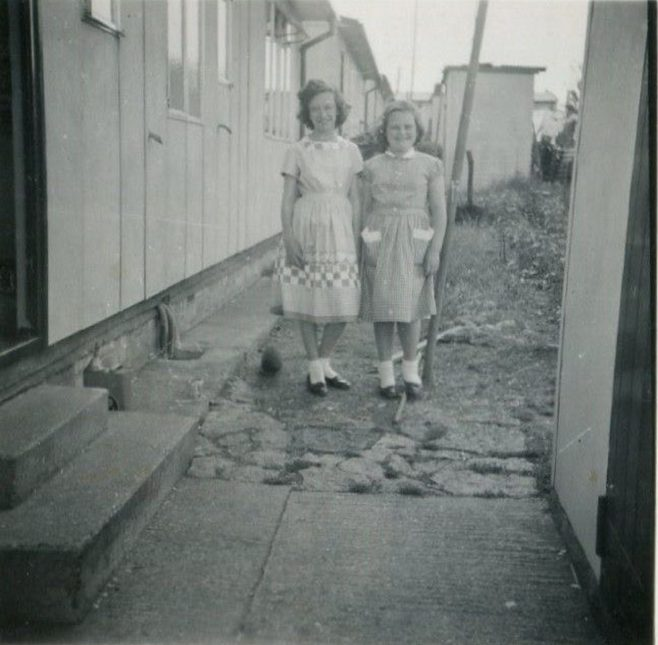 My sisters Carol and Susan. Bants Lane, Northampton