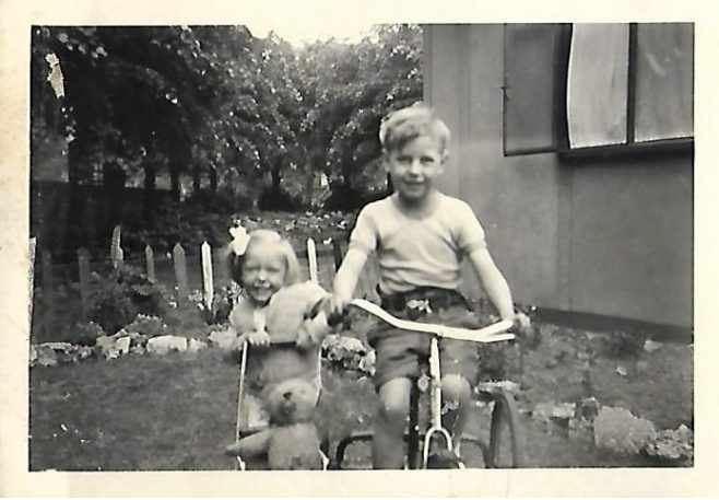 JOHN & JENNIFER BUGG IN GARDEN OF 83b CARLETON ROAD 1953