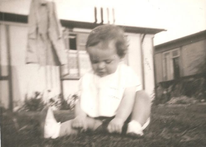 Alan's sister aged about 1 or 2. Ascot Park, Brent Cross, London