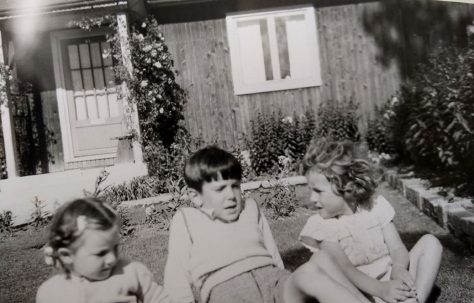 Us three Brockbank kids in the front garden. Swallow Street, Iver Heath, Buckinghamshire