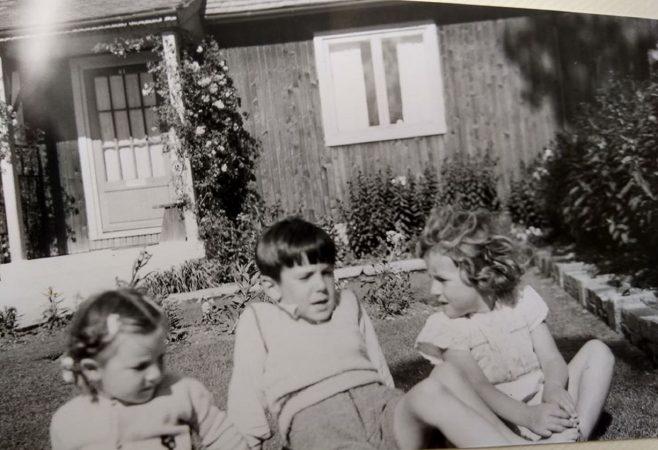 Us three Brockbank kids in the front garden. Swallow Street, Iver Heath, Buckinghamshire