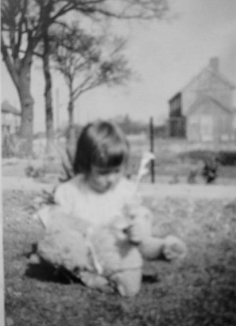 Jean in the front garden. Swallow Street, Iver Heath, Buckinghamshire