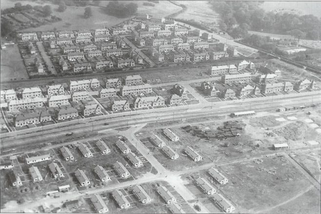 Aerial view of prefabs under construction at Dalmuir West
