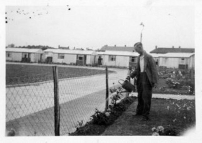 Robert's grandfather Charlie watering the garden, Manford Green, Chigwell | Robert Bourke