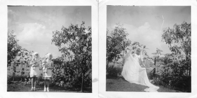Anne Ward and Susan Tucker in the garden of 31 St. Peter's Road, Chadwell c.1960 | Susie Flanders