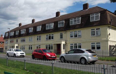 Cornish three-storey blocks of flats in Oak Crescent, Hereford