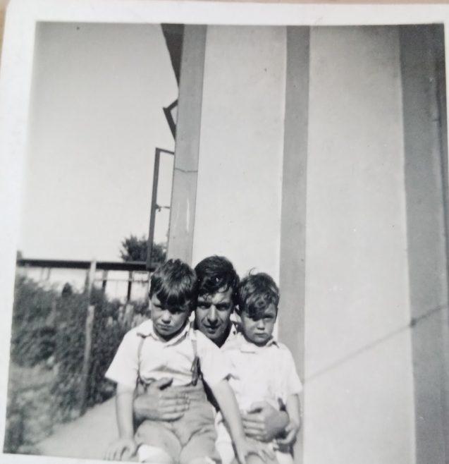 My father Don with Jim and I. Limbourne Avenue, Dagenham | John Blake