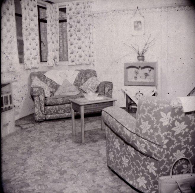 Prefab living room. 3 High Cross Road, Tottenham | Patricia Wilson