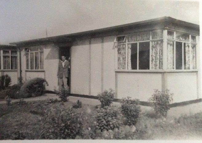 Arthur Mulley outside their prefab in Rochford Road, Southend on Sea 1950s | Polyanna