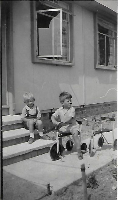 Pat on the tricycle and his friend John on the prefab step, Douglas Road, Lenham | Pat Jessup