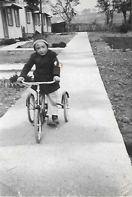Pat's friend John on his bike, Douglas Road, Lenham | Pat Jessup