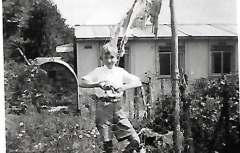 Pat's friend John in the prefab garden, Douglas Road, Lenham