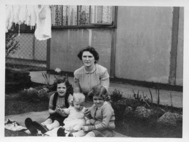 Christine, Robert and Pauline Flanders with their mum, Annie. 7Hind Grove, Poplar, E.14. 1952 | Robert Flanders