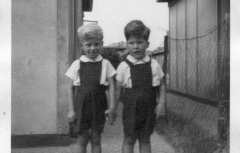 Twins Robert and David Flanders. 7 Hind Grove, Poplar, E.14. 1954