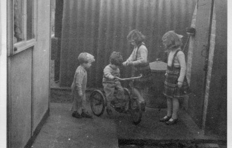 Twins Robert and David, Christine and Pauline Flanders. 7 Hind Grove, Poplar, E.14. 1954