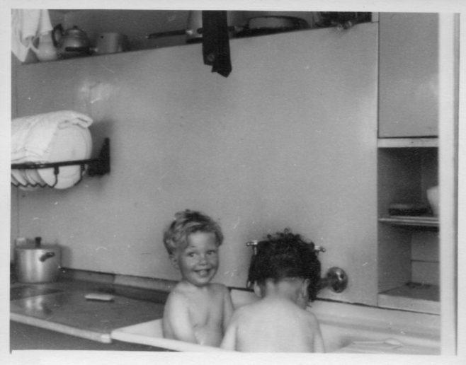 Twins, Robert and David Flanders 7 Hind Grove, Poplar. London E.14 1953 | Robert Flanders