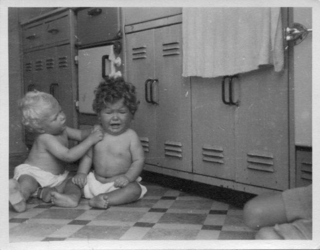 Twins, Robert and David Flanders. 7 Hind Grove, Poplar, E.14. 1952 | Robert Flanders