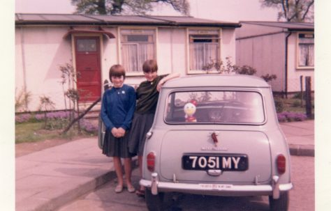 Teresa Chopin & Susan Tucker outside 31 St. Peter's Road, Chadwell St. Mary, Essex 1965