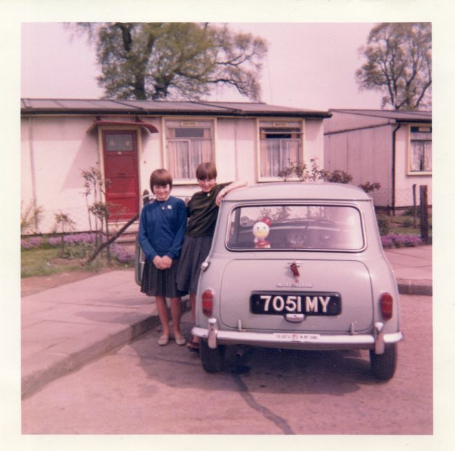 Teresea Chopin & Susan Tucker outside 31 St. Peter's Road, Chadwell St. Mary, Essex 1965 | Susie Flanders