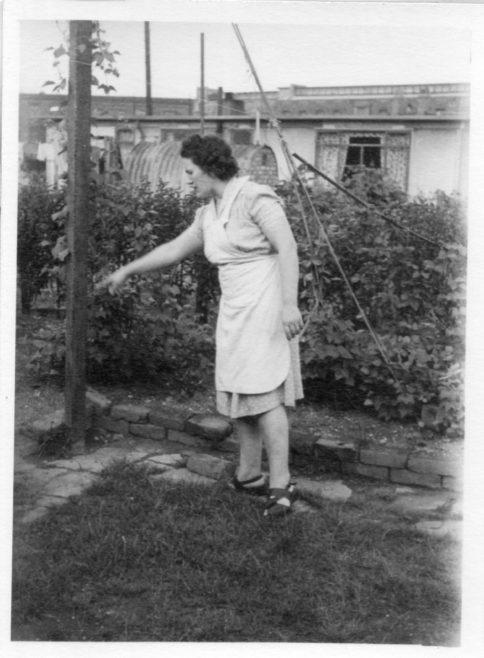 Annie Flanders. Garden of 7 Hind Grove, Poplar, London.E14. c.1952 | Robert Flanders