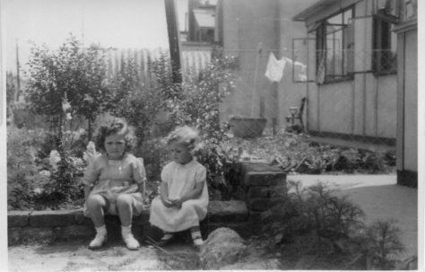 Christine and Pauline Flanders. 7 Hind Grove, Poplar, E.14. late 1940s.