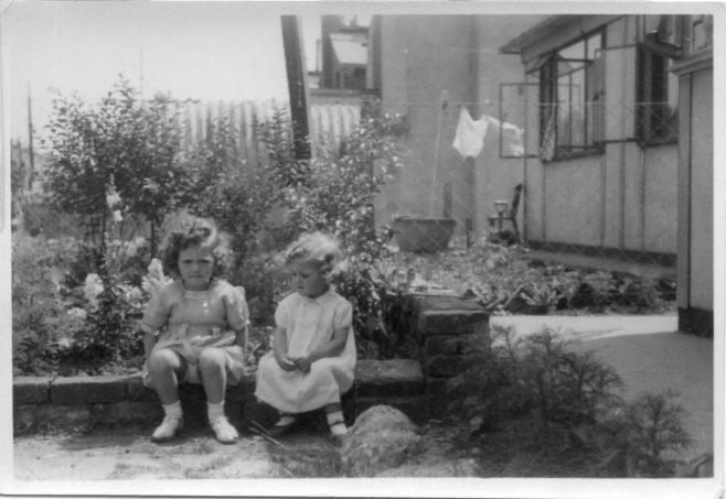 Christine and Pauline Flanders. 7 Hind Grove, Poplar, E.14. late 1940s. | Robert Flanders