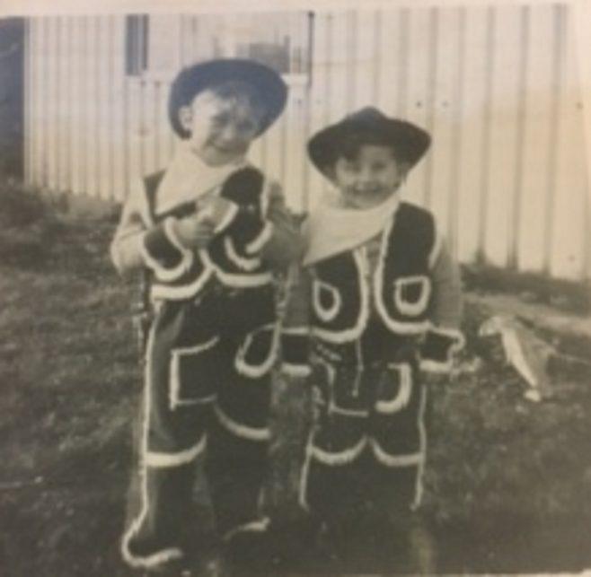 Cowboys in prefab garden Christmas 1954. 15 Bonchurch Road, Southampton | Geoff Lindsay