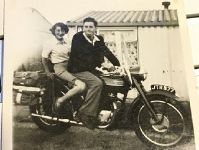 Outside our prefab, Uncle Alan impressing his girlfriend, soon to be wife, Sheila, on his Triumph Bonneville about 1955. 15 Bonchurch Road, Southampton | Geoff Lindsay