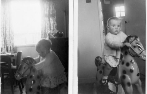 Rocking horse in lounge Feb 1956. 70 Lockley Crescent, Hatfield, Hertfordshire