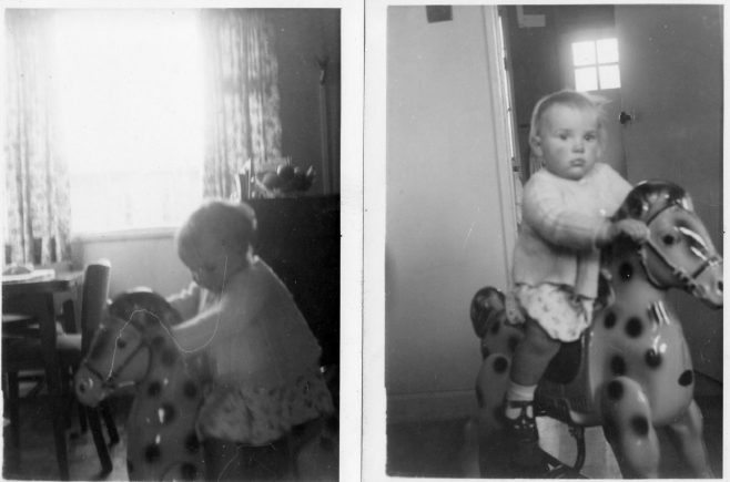 Rocking horse in lounge Feb 1956. 70 Lockley Crescent, Hatfield, Hertfordshire | Gillian Beckford