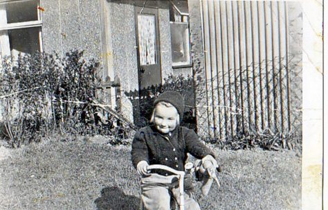 1957 Me on my trike & old rabbit in Lockley Crescent, Hatfield, Hertfordshire
