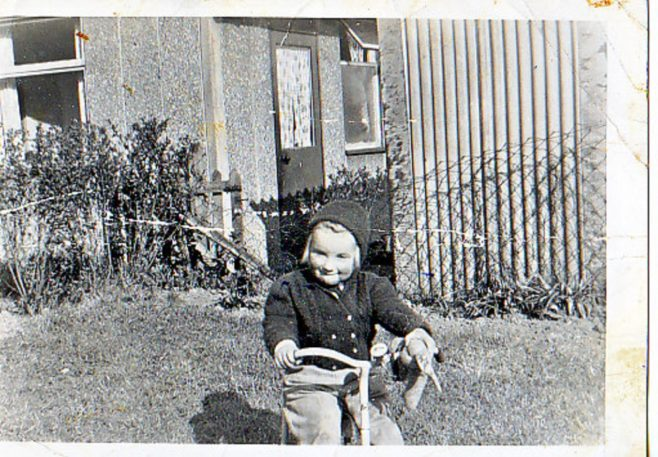 1957 Me on my trike & old rabbit in Lockley Crescent, Hatfield, Hertfordshire | Gillian Beckford