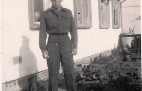My father, George Arnold, visiting home on National Service. He was in the Royal Military Police 1947-1949. 13 Mill Close, Ringmer
