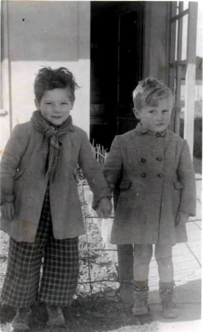 Roger and Jim outside the prefab, Crownhill, Plymouth | Roger Rowe