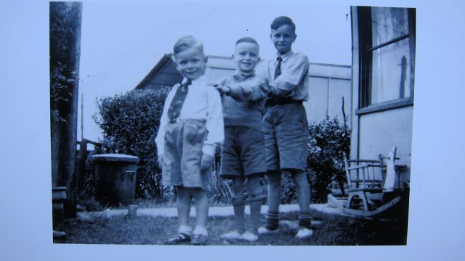 Me and my 2 brothers behind our prefab. Mottingham, London, SE9 | Keith Hogwood