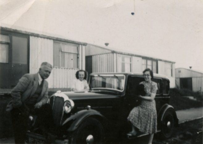 My mother and grandparents outside Llanelli Place, Fforestffach | Michael Mutton